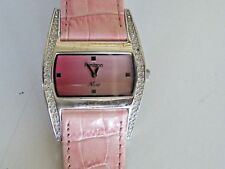 Armitron Lady's Now Watch Pink Genuine Leather Band Fresh Battery