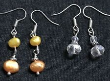 2 Pairs Pretty Citrus Orange & Yellow Silver Crystal Drop Dangle Earrings