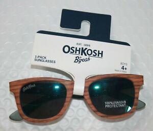 New OshKosh Boys Sunglasses 4 year + 100% UVA-UVB Wood Grain Brown Classic