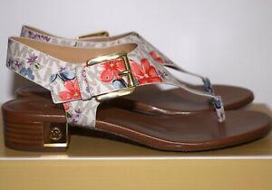 NWB Michael Kors London Thong MK Flower Signature Print Vanilla Sandals Size 8M