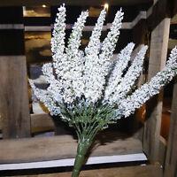 Üppige Erika Lila Flieder weiß 24 Stiele Pflanze Blume Strauß Busch Kunstblume