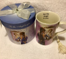 """NEW ANGEL STAR COFFEE CUP/MUG..""""SEE THE ANGEL IN YOU""""  4 1/4"""" TALL WITH GIFTBOX"""