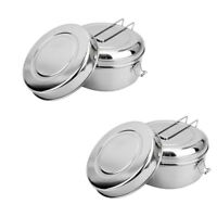 2PCS Lunch Box Stainless Steel Bento Case Microwave Food Container Office