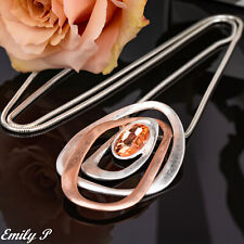Long Statement Necklace Rose Gold & Silver tone Hand Finished Lagenlook