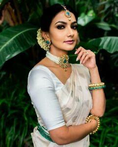Indian Stylish Designer White Kanchipuram Wedding Party Cotton SIlk Saree Sari