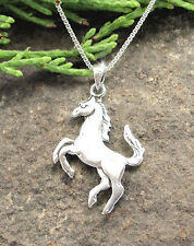 HORSE & WESTERN JEWELLERY JEWELRY 925 STERLING SILVER REARING  HORSE NECKLACE
