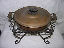 Vintage Round Metal Cover Dish And Wrought Iron Stand Food Warmer