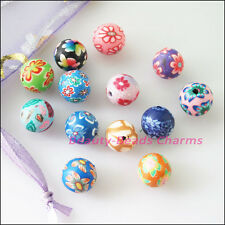 25Pcs Mixed Handmade Polymer Fimo Clay Round Spacer Beads Charms 10mm