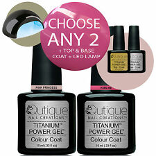 QUTIQUE Gel Nail Polish Colour Kit/Set/Pack inc LED Lamp -ANY 2 Colours