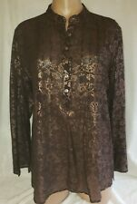 Chicos 1 Medium 8-10 Brown Scroll Floral 100% Silk Button Up NWT Tunic