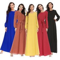 Muslim Women Abaya Long Sleeve Maxi Dress Kaftan Jilbab Arab Cocktail Robe Gown