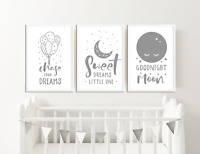 Grey Nursery Prints Boys / Girls Bedroom Pictures Baby Room Decor Ideas Baby