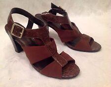 Women's GLORIA VANDERBILT Size 9 1/2 Dark Brown SNAKESKIN Open Toe SANDALS Heels