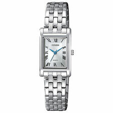 Ladies Citizen Quartz Silver Stainless Rectangle Roman Dial Watch EJ6120-54A