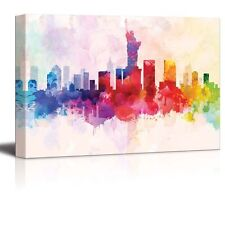 Rainbow Splattered Paint on New York with the Statue of Liberty-Canvas Art-16x24