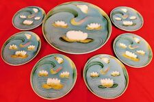 Antique German 7 Pc. Majolica Water Lily Dessert Set