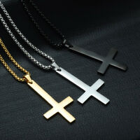 Mens Stainless Steel Pendant Necklace Inverted Cross Upside Down Cross Jewelry