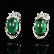 Solid G18K White Gold 2.02TCW Natural Colombian Emerald Diamond Stud Earrings