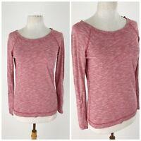 Thyme Honey Womens Top Medium Henley Long Sleeve Pink Shirt Pocket Blouse Thin