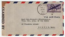 1942 CATANO PUERTO RICO Postal Cover WWII Censor CARDINAL CUSHING Boston Mass
