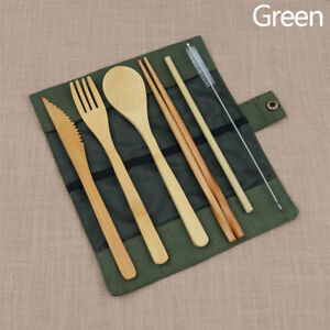 Portable Bamboo Cutlery Travel Eco-friendly Fork Spoon Straw Set W/Pouch Wooden