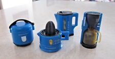 SET OF 4 BLUE REFRIGERATOR MAGNETS COFFEE POT - DRIP POT - JUICER - RICE COOKER