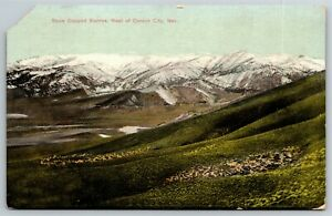 "Vintage Postcard ""Snow Capped Sierras, West of Carson City"""