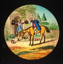 ANTIQUE HAND PAINTED MAGIC LANTERN SLIDE N&C WOODEN FRAME - THE COLLECTION