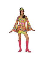 Retro Go Go Girl 60s 70s Fancy Dress Ladies Psychedelic Disco Costume UK: 6-28
