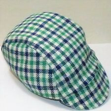 NEW VINTAGE STYLE CYCLE WINTER CAP ONE SIZE GREEN WHITE CHECK UK HANDMADE E184
