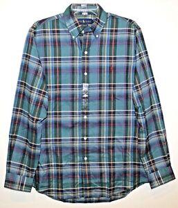 Polo Ralph Lauren Mens Green Blue Plaid Classic Button-Front Shirt NWT Size M