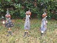 Halloween Metal Pumpkin Head Mischief Figurines Halloween Garden Decoration