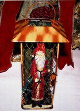 Vintage Santa Claus Tin Candel Holder Lantern