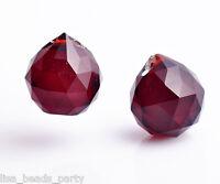 20mm DeepRed Faceted Crystal Glass Chandelier Lamp Prisms Hanging Drops Pendants