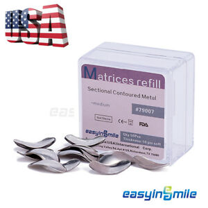 50Pc Dental Metal Matrices Sectional Contoured Matrix Refill Package S/M/L [USA]