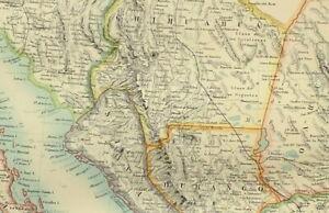 1895 ANTIQUE MAP MEXICO DURANGO YUCATAN CHIAPAS YUCATAN ZACATECAS CHIHUAHUA