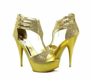 "Gold Color Pump Prom Platforms Strappy Womens 5.5"" Heels Sandal Shoes Size 6.5"