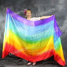 TIE-DYE BELLY DANCE 100% SILK VEILS (5.0 M/M)     seven colors rainbow color  77
