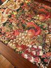 Vintage Glosheen Fabric/Festive Coloring/Hand Blocked/Gold /NOS/1 Large Panel