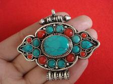 Handmade Nepal Tibet Silver Turquoise Coral Prayer box Pendant Necklace 14000473