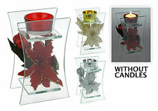 Stunning Glass Christmas Tea Light Holder with Fabric Christmas Flower Display