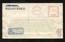 SINGAPORE 1962 REGIST.METER FRANKING...BANK WINDOW ENVELOPE...ORCHARD RD TANGLIN