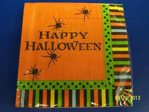 Spooky Spiders Green Orange Stripe Halloween Theme Party Paper Luncheon Napkins