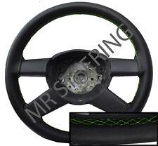 Si adatta AUDI A3 MK1 1996-2003 Nero Vera Pelle Volante Copertura Verde Stitch