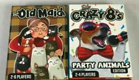 LOT of 2 DELUXE CARD GAMES OLD MAID and CRAZY 8s Great Games Kids & Family Time
