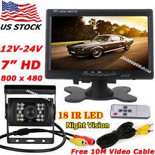 "12V-24V Bus Van Truck 18LEDs IR Reverse Rear View Camera+7"" HD Color LCD Monitor"
