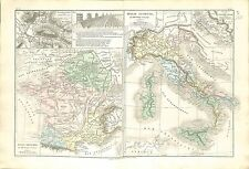 Roman Empire Romain Italie Old Italy Gaule Gaul France MAP CARTE ATLAS 1882