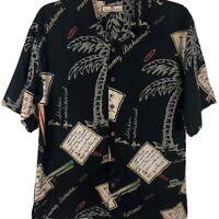 Tommy Bahama Silk Hawaiian Shirt button up Mens Medium Floral black short sleeve