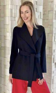 Mela Purdie Black Wrap Peacoat Double Knit Crepe Coat Jacket Plus Size 18 2X