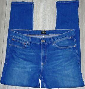 Mens🦋RIVER ISLAND 🦋blue stretch ripped knee skinny denim jeans size 36S